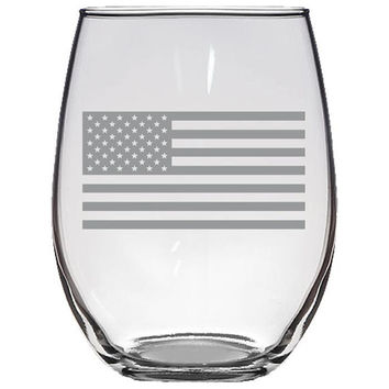 US Flag Stemless Wine Glass, Etched Wine Glass, Wine Lover Gift, Bridesmaid Gift, Wedding Gift, Funny Wine Glass, Wine Glass, America