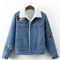 Fashion Vintage Lambs Wool Oversized Denim Jacket Winter Crane Embroidery Turn-down Collar Outerwear Thicken Women Basic Coats