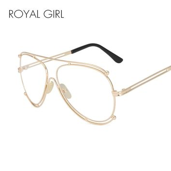 ROYAL GIRL Women eyeglasses frames Oversized  Double-Bridge Vintage metal wire Clear Glasses ss017