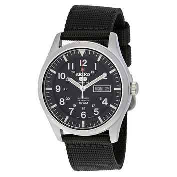 Seiko 5 Sport Automatic Black Canvas Mens Watch SNZG15