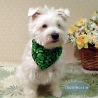 Shamrocks, Pitchers and Pints St Patricks Day Dog Bandana, Collar Slipcover, Medium