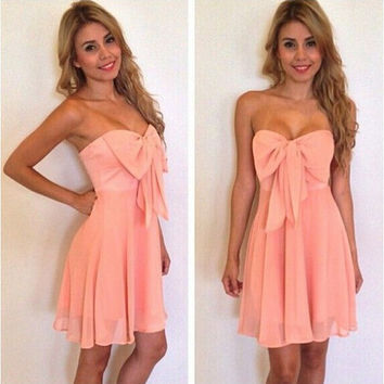 Bowknot Strapless Chiffon Party Dress