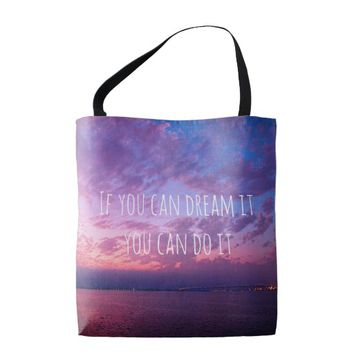 """Dream it"" quote purple pink sunset photo tote bag"