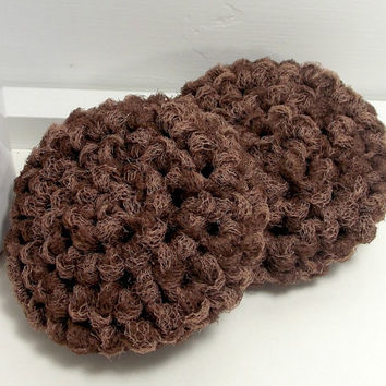 Scouring Pads, Eco Kitchen, Crochet Scrubbies, Eco Friendly Dish Scrubbers, Set of 2, Espresso & Latte Mix