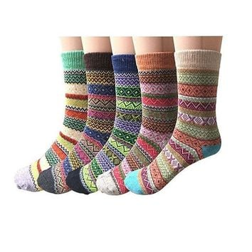 Forthery Socks Women Men Fashion 5pairs Solid Thick Wool Winter Warm Crew Slipper Home Socks