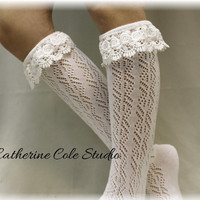 TARA tall lacy boot sock - cream
