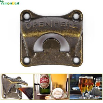 1Pcs Vintage Antique Iron Wall Mounted Bar Beer Glass Bottle Cap Opener Kitchen Tools Bottle Opener Beer Opener With 4 Srews