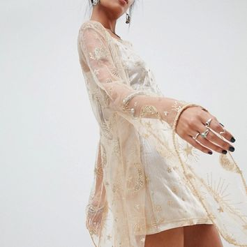 Elsie & Fred kimono in glitter mesh two-piece at asos.com