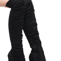 FAUX SUEDE OVER THE KNEE LACE-UP HEELED BOOT - SALE