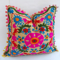 Handcrafted Woolen Embroidered Suzani Cushion Covers Uzbekistan Style Cute Gift for Him or Her High Fashion Traditional Interior Decor 16""