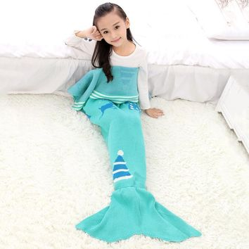 Children Yarn Knitted Mermaid Crochet Tail Blanket