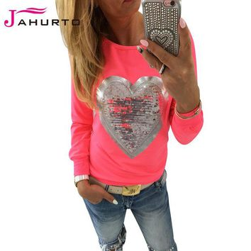 DCCKJG2 Jahurto Love Heart Sequins T-shirt Neon Color Round Neck Long Sleeve Slim Casual Cute Women Shirt Pullover Female Clothes
