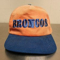 Vintage NFL Broncos Corduroy Snapback Hat Made By Starline 80s 90s Minimal Hipster Style Football