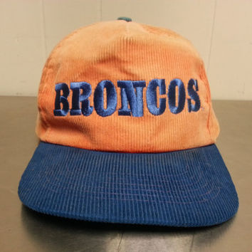 Vintage NFL Broncos Corduroy Snapback Hat Made By Starline 80s 90s Minimal  Hipster Style Football c9e467112