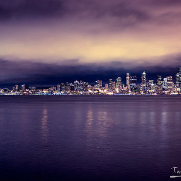 Seattle Skyline From Alki (Purple) 8x12 Giclée Fine Art Print - FREE WORLDWIDE SHIPPING