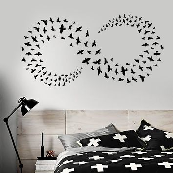 Vinyl Wall Decal Infinity Sign Symbol Flock Of Birds Bedroom Decor Stickers (2645ig)