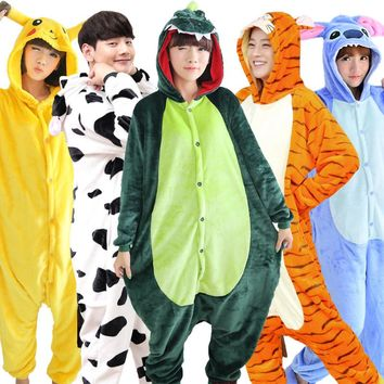 2017 Winter Flannel Cartoon Cosplay Animal Funny Pajamas Adults Stich Pokemon Pajama Suit Women's Kigurumi Unicorn Men's Onesuit
