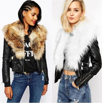 Winter women PU leather jackets Imitate Fur Large Fur Coat Outerwear Female blue faux fur plus size casual overcoat 3XL