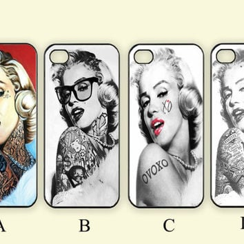 Tattoo Marilyn Monroe,Custom Case, iPhone 4/4s/5/5s/5C, Samsung Galaxy S2/S3/S4/S5/Note 2/3, Htc One S/M7/M8, Moto G/X