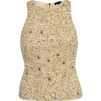 Beige embellished tank top - going out tops - tops - women