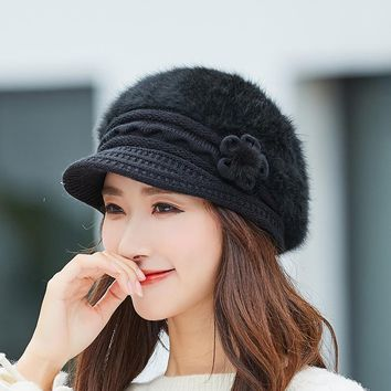 New Women Rabbit Fur Knitted Berets Hats Casual Solid Color Winter Hat Female Bonnet Caps Boina Feminino