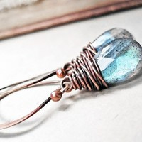 Copper Labradorite Earrings, Handmade Wire Wrapped Teal Blue Gemstones