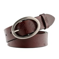 WERFORU Vintage Leather Belts for Women Embossed Western Strap with Metal Buckle Wide 33mm