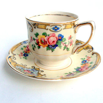 Vintage Johnson Bros. England, Demitasse Cup and Saucer, Pareek Pink Rose Floral, 1920s, Transferware, Gold trims, Collectible