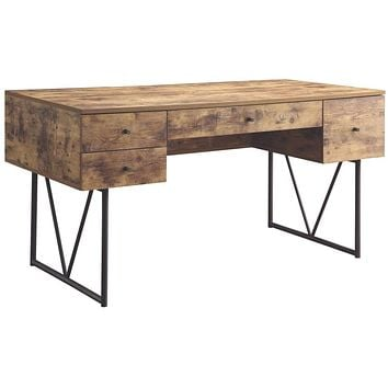 Voguish Style Writing Desk With 4 Drawers, Brown