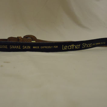 Leather Shop Belt Casual 28in-32in Snake Skin Metal Female Adult M Browns Solid -- Preowned