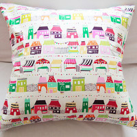 Colorful World Pillow Slipcover 18x18 Cotton Envelope
