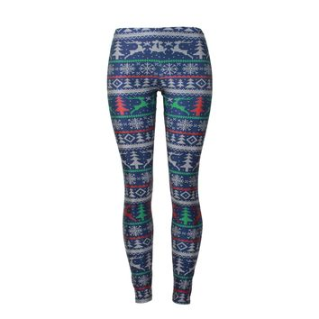 Reindeer Digital Print Mid Waist Women Thin Skinny Christmas Leggings