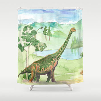 Brachiosaurus  Shower Curtain - Dinosaur,  landscape, watercolor, cretaceous, jurassic colorful decor bathroom, zoo,