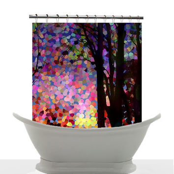 Artistic Shower Curtain - Sunrise, Sunset , trees. candy pink, peach , art, decor, home