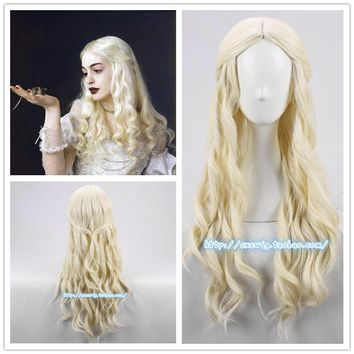Movie Alice in Wonderland White Queen White Wig Curly Long BW Hair with Net Role Play Halloween