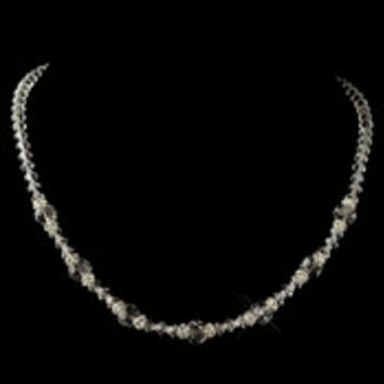 Silver Clear Swarovski Crystal Bead & Rondelle Lariat Necklace 9712