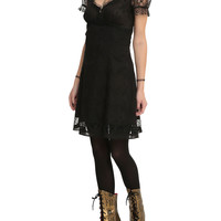 Royal Bones By Tripp Black Lace Sleeve Dress