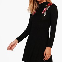 Petite Karla Embroidered Turtle Neck Skater Dress | Boohoo