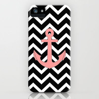 Salmon Anchor Black Chevron Pattern iPhone Case by RexLambo | Society6