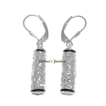 RHODIUM PLATED SILVER 925 HAWAIIAN PLUMERIA SCROLL BARREL LEVERBACK EARRINGS
