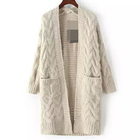 Pure Color Big Pockets Knit Outerwear