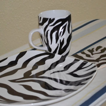 Zebra Design Decorative Dinner Set, Black and White Painted Ceramic Plates Cups Mugs Coasters, Gifts For Her