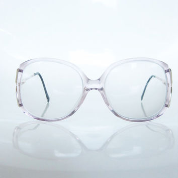 Vintage 1980s Glasses ITALIAN  / 80s Lilac OVERSIZED Eyeglasses / Indie HIPSTER Chic Womens Ladies