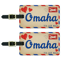 Air Mail Postcard Love for Omaha Luggage Tag Set