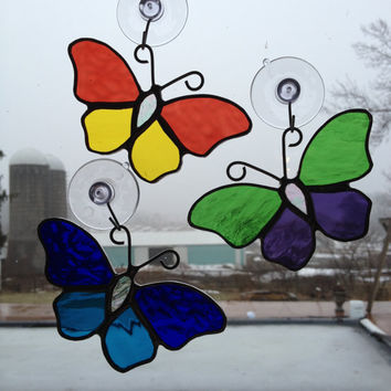 Handmade Stained Glass Butterfly Suncatcher