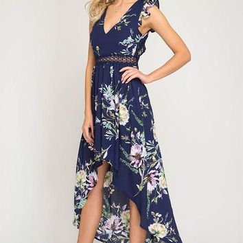 Ruffle Sleeve High Low Dress - Navy