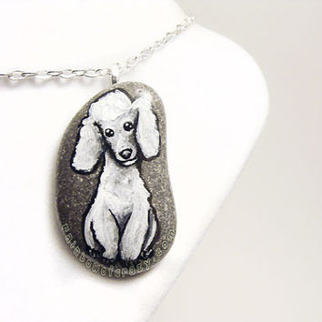 White Poodle Pendant, Angel Necklace, Pet Jewelry, Dog Art, Hand Painted Portrait Painting, Memorial Gift, Beach Stone
