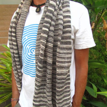 Men's 100% Natural Cotton Black & White Weave Scarf Natural Surfer Hippie Travel | eBay