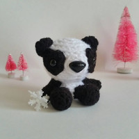 Mini Amigurumi Panda Bear Stuffed Animal Bear Mini Pet Kawaii Chibi Gift Toy Collectible Room Decor