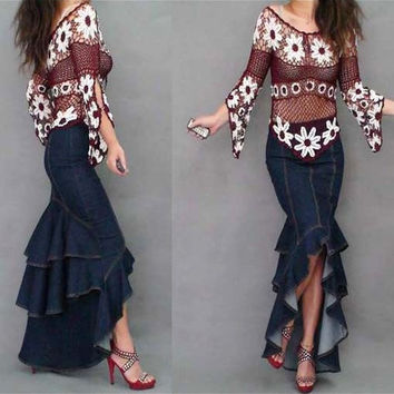 Hot fashion curvy Need layers of lotus leaf stitching fishtail skirt denim skirts denim skirt trailing = 5708463105